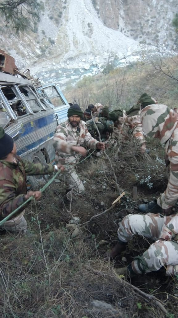 One dead, 34 injured as bus carrying paramilitary personnel rolls down into gorge on Kashmir highway